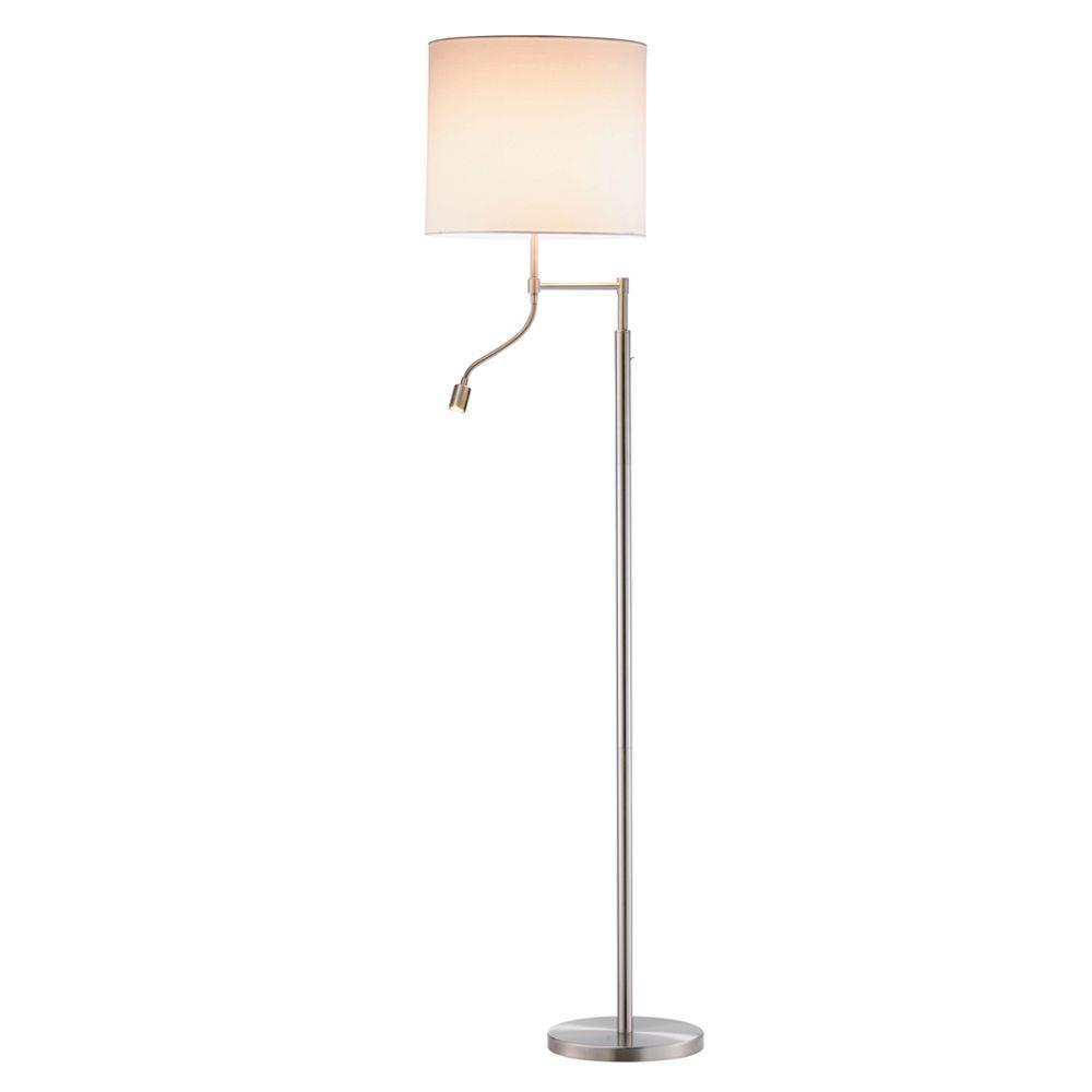 Adesso Ellery 63 in. Satin Steel Floor Lamp with Gooseneck Reading Light