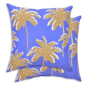 2-Pack Palm Square Outdoor Throw Pillow (Palm)