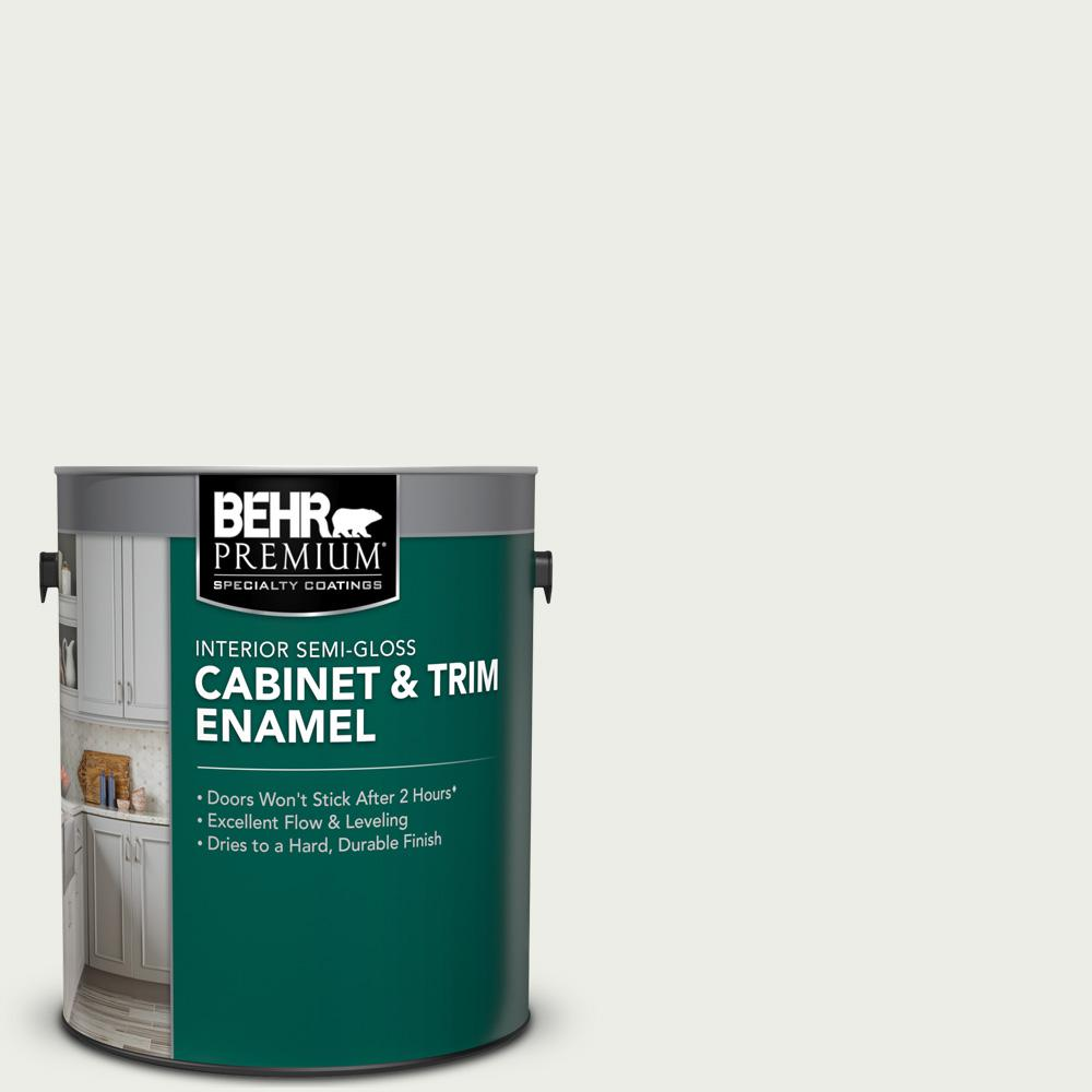 BEHR Premium 1 gal. #52 White Semi-Gloss Enamel Interior Cabinet and Trim Paint