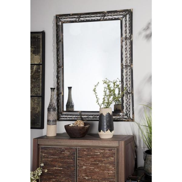 Litton Lane Rectangular Distressed Gray Wall Mirror
