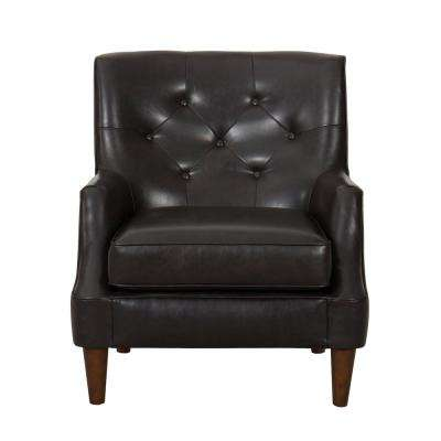 Dark Brown Faux Leather Large Tufted Faux Leather Accent Chair