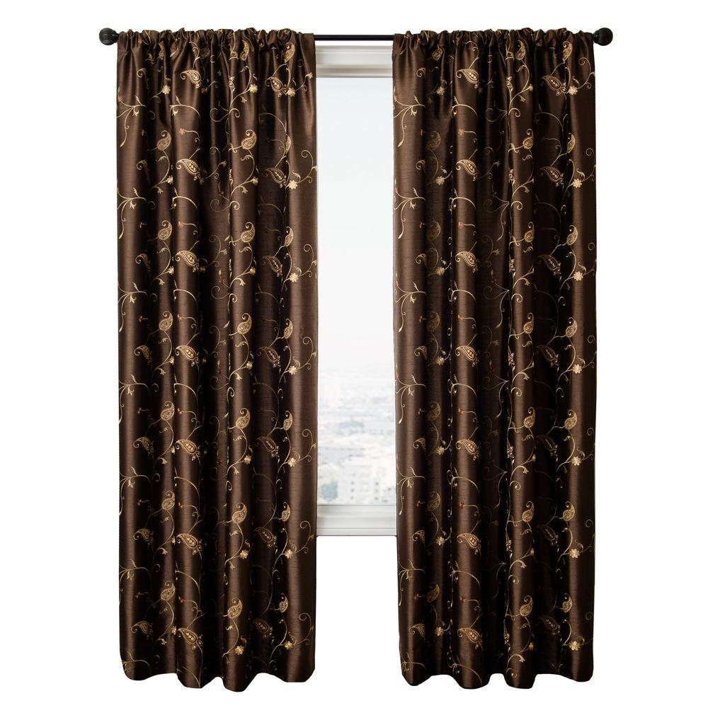 Home Decorators Collection Sheer Chocolate BelAir Rod Pocket Curtain - 54 in.W x 96 in. L