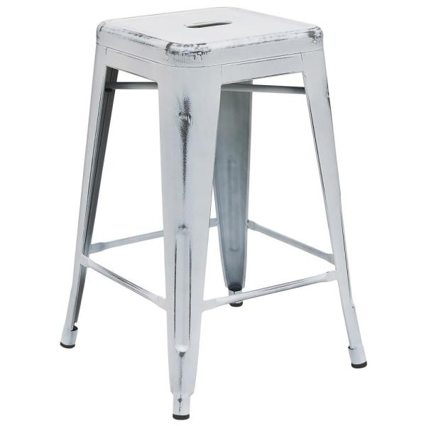 Flash Furniture 24 in. Distressed White Bar Stool ETBT350324WH