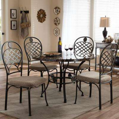 Hera 5-Piece Light Brown Wood and Metal Dining Set