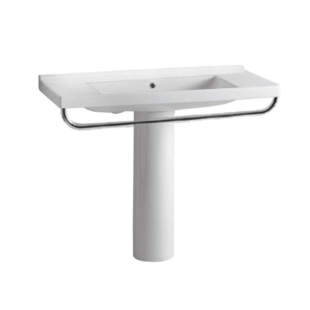 Whitehaus Collection China Series Tubular Pedestal Combo Bathroom Sink and Towel Bar in White