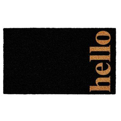 Vertical Hello Black/Natural 24 in. x 36 in. Door Mat