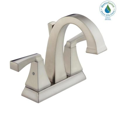 Dryden 4 in. Centerset 2-Handle Bathroom Faucet with Metal Drain Assembly in SpotShield Stainless