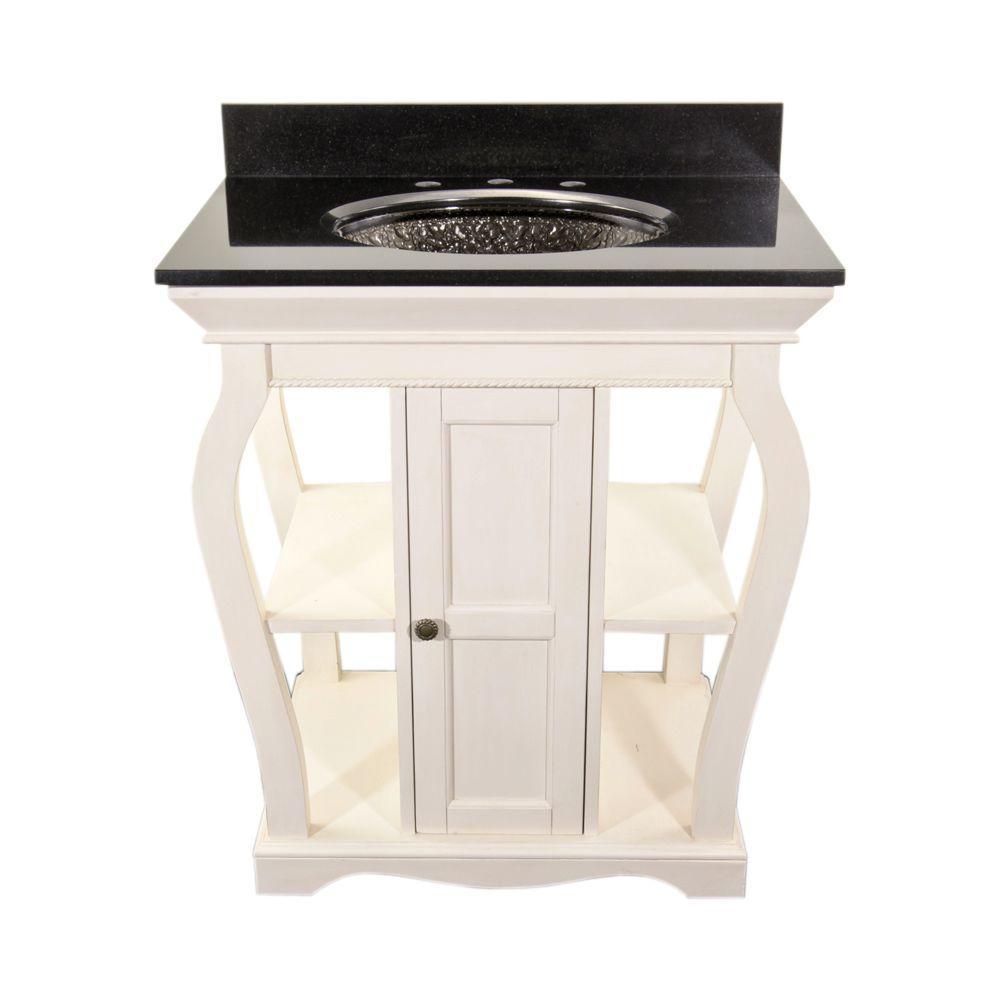 Vineta 30 in. Vanity in Antique White with Granite Vanity Top in Black with Black Nickel Pebble Undermount Sink