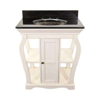 Vineta 30 in. Vanity in Antique White with Granite Vanity Top in Black with Black Nickel Pebble Undermount Sink