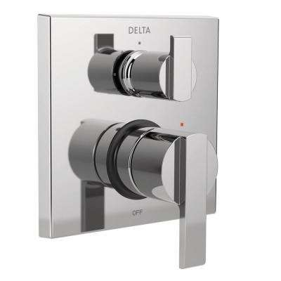 Ara Modern 2-Handle Wall-Mount Valve Trim Kit with 3-Setting Integrated Diverter in Chrome (Valve Not Included)