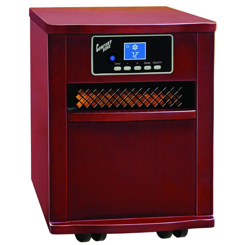 Comfort Zone Quartz Wood Cabinet Cherry Finish Portable Heater with Remote Control-DISCONTINUED