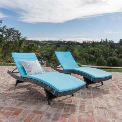 Salem Grey 4-Piece Wicker Outdoor Chaise Lounge with Blue Cushions