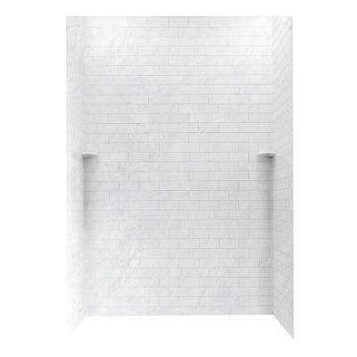 Subway Tile 36 in. x 62 in. x 96 in. 3-Piece Easy Up Adhesive Alcove Shower Surround in Tundra