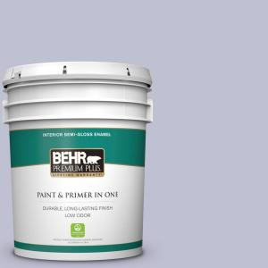 Behr Premium Plus 5 Gal S560 2 Lavender Honor Semi Gloss Enamel Low Odor Interior Paint And Primer In One 305005 The Home Depot