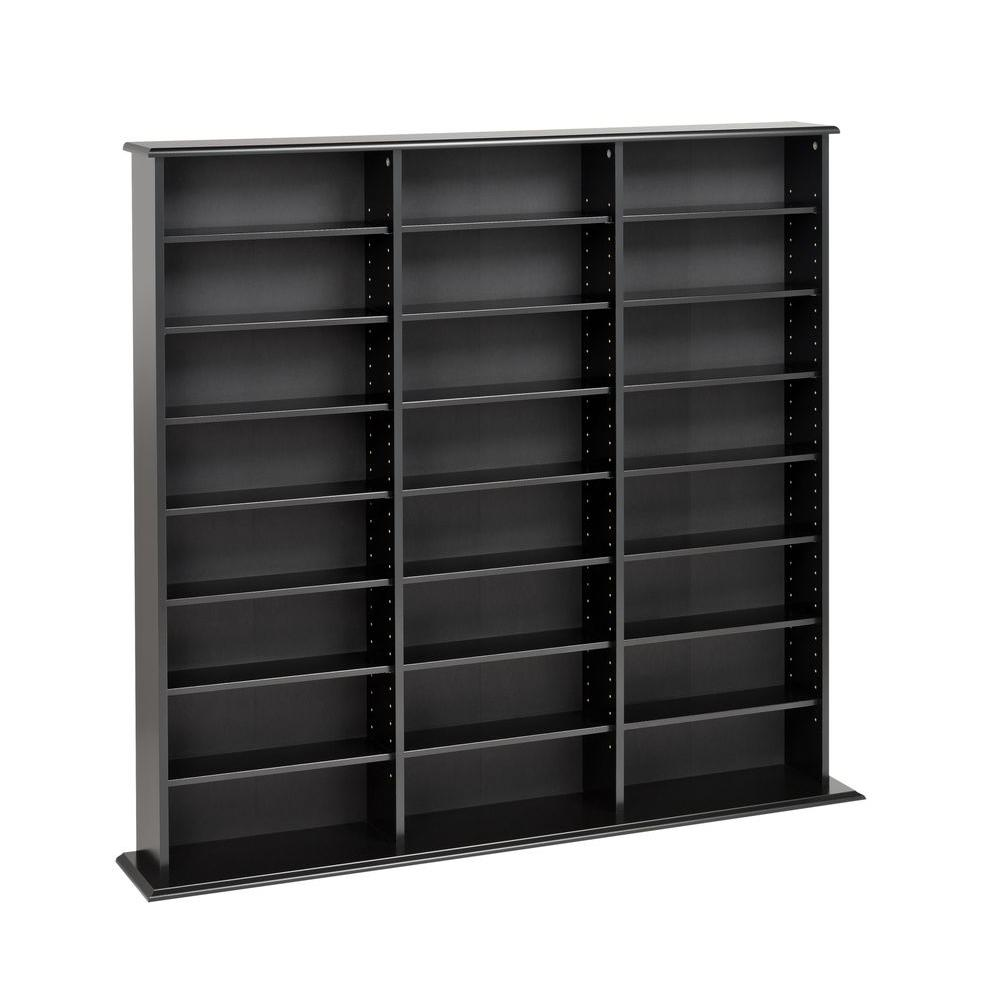 Prepac Black Media Storage Keep your media stored and sorted with the Triple Width Wall Storage. Designed in a library style, this unit has 3 separate compartments, each with fully adjustable shelves that make storing a variety of media easy. Horizontal storage makes it simple to sort and fill your collection as it grows. Popular and practical, you will wonder how you stored your media without it. Color: Black.