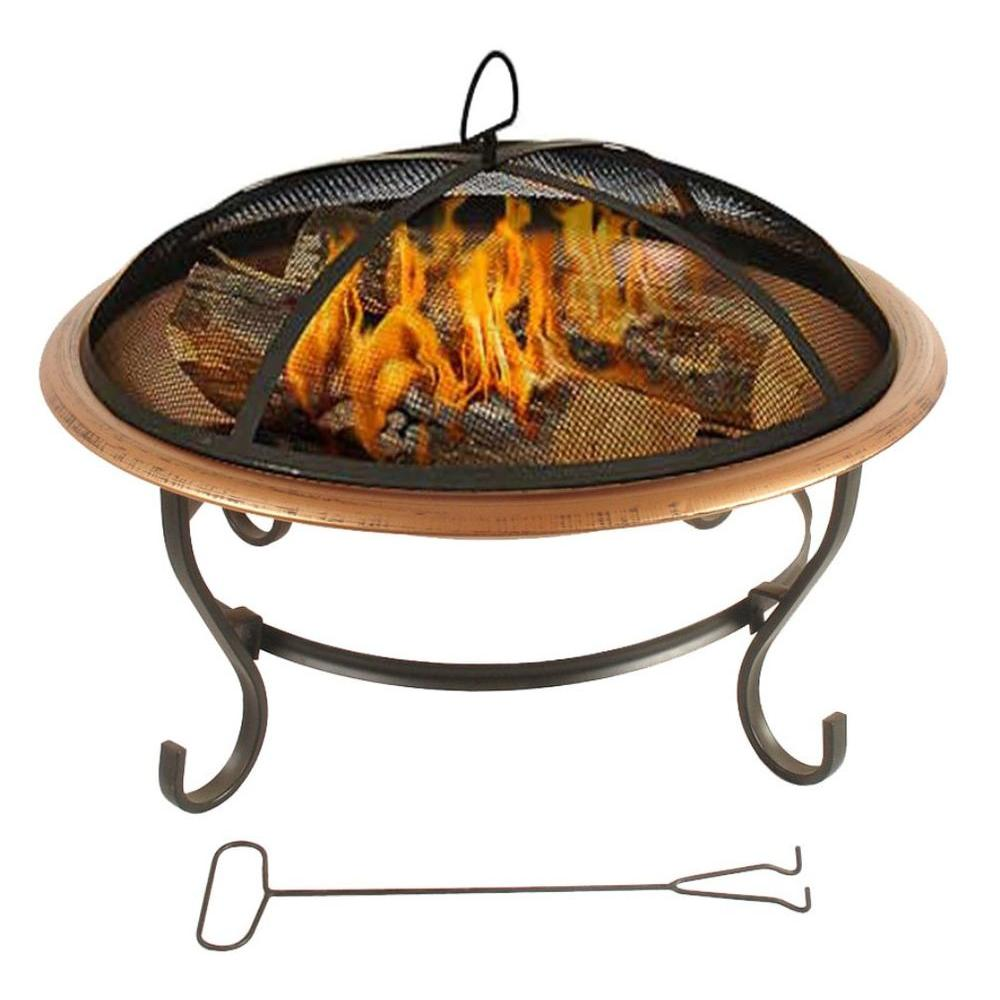 null Copper Fire Pit with Grate and Poker-DISCONTINUED