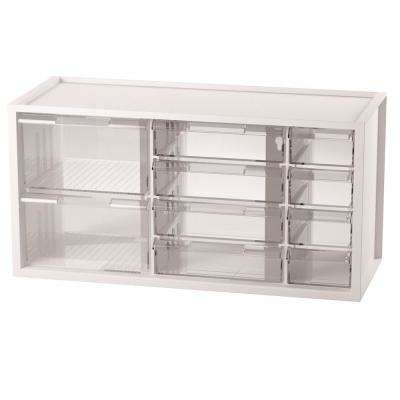 Stationery Crafts and Hardware Organizer Plastic Storage Bin with 20-Assorted Transparent Compartments in White