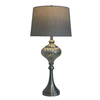 30 in. Brushed Steel and Swirled Mercury Glass Font Table Lamp