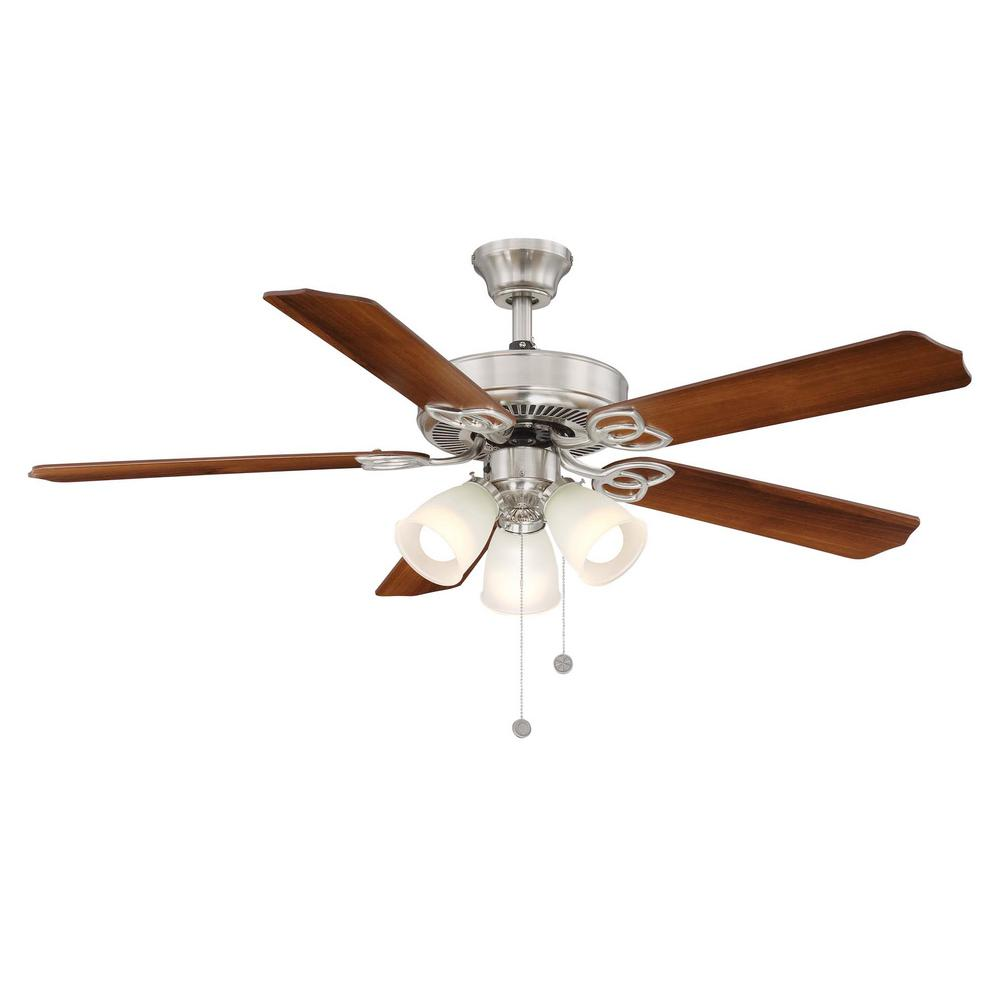Brookhurst 52 in. Indoor Brushed Nickel Ceiling Fan with Light Kit