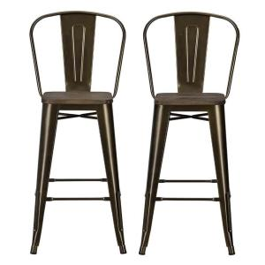 DHP Lena 30 inch Antique Bronze Metal Bar Stool with Wood Seat (Set of 2) by DHP