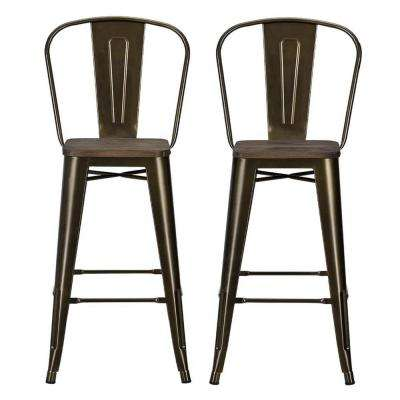 Lena 30 in. Antique Bronze Metal Bar Stool with Wood Seat (Set of 2)