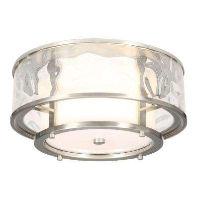Bay Court Collection 2-Light Brushed Nickel Outdoor Flushmount Light