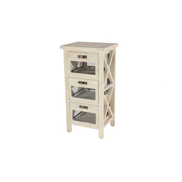 Litton Lane Small 3-Drawer Beige Wood Cabinet with Black Mesh Drawers