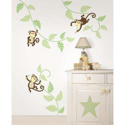 Green Monkeying Around Wall Decals