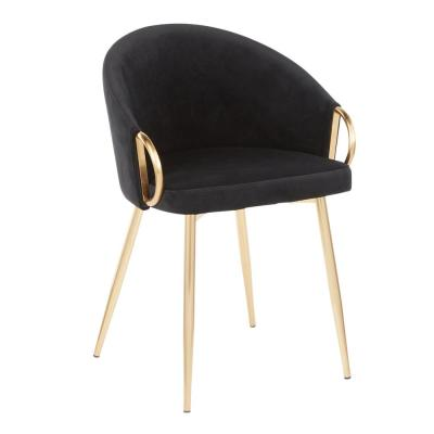 Claire Black Velvet and Gold Dining Chair