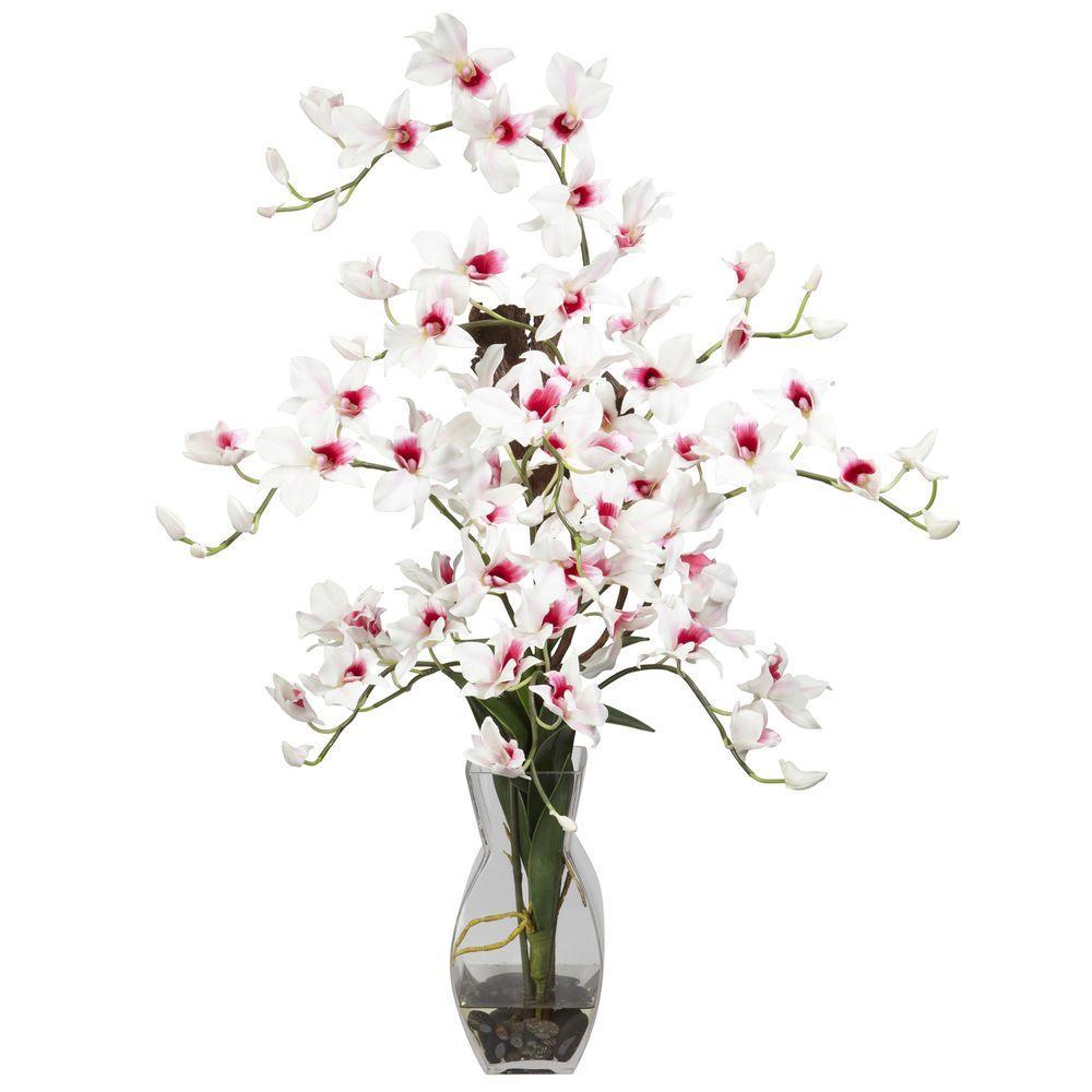 null 35 in. H White Dendrobium with Vase Silk Flower Arrangement