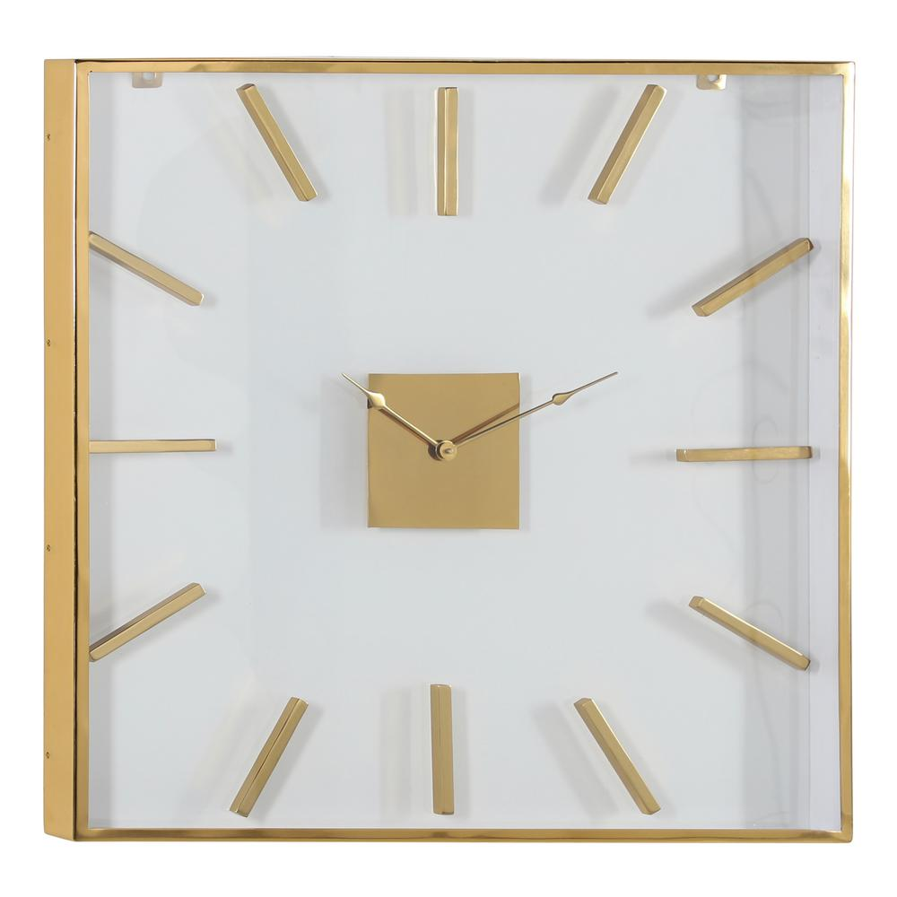 Litton Lane Extra Large 30 In Square Gold Metal Wall Clock With Clear Glass Face 81184 The Home Depot