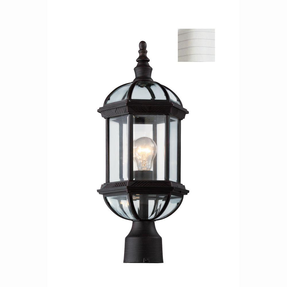 Bel Air Lighting Atrium 1-Light White Outdoor Post Top Lantern with Clear Glass