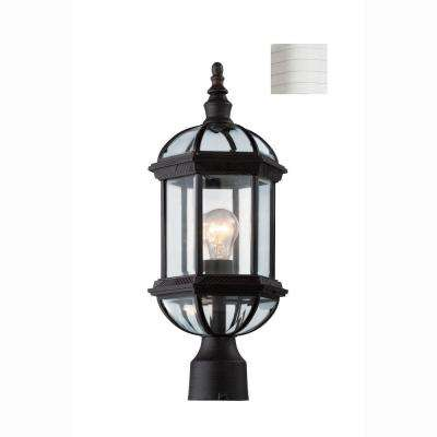 Atrium 1-Light White Outdoor Post Top Lantern with Clear Glass