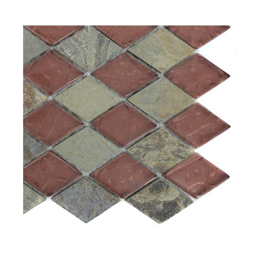 Splashback Tile Tectonic Diamond Multicolor Slate and Glass Mosaic Floor and Wall Tile - 3 in. x 6 in. x 8 mm Tile Sample