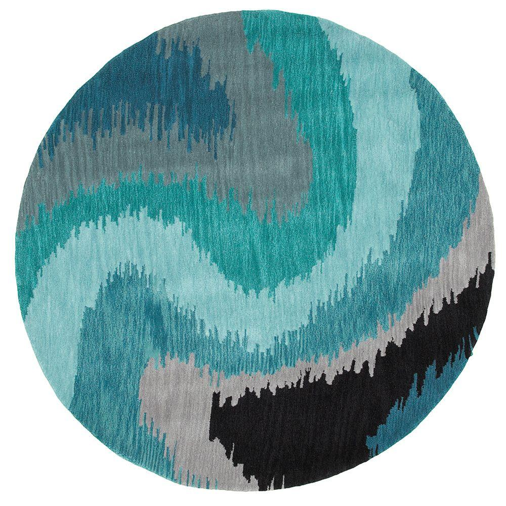 Fashion Blue Wave Geometric 8 ft. Plush Indoor Round Area Rug