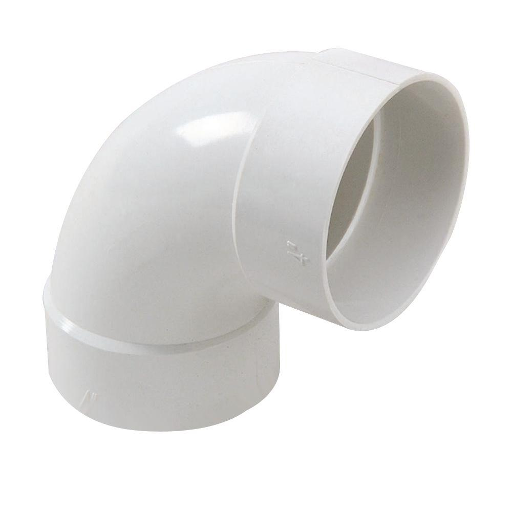 NDS 4 in. PVC 90-Degree Hub x Hub Long-Turn Elbow