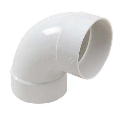 4 in. PVC Sewer and Drain 90-Degree Hub x Hub Long-Turn Elbow