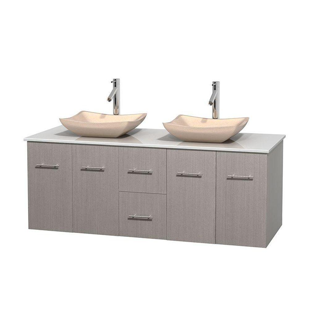 Wyndham Collection Centra 60 in. Double Vanity in Gray Oak with Solid-Surface Vanity Top in White and Sinks