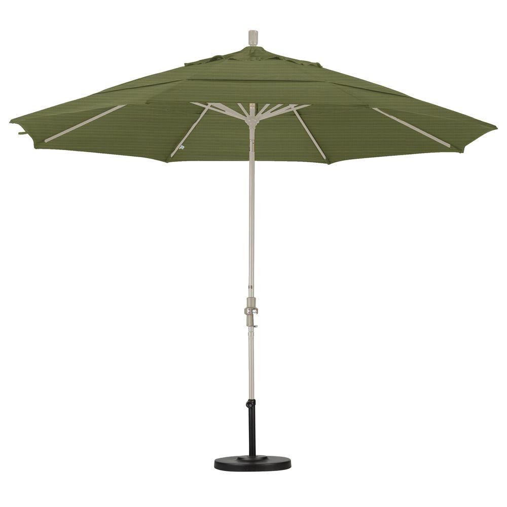 11 ft. Fiberglass Collar Tilt Double Vented Patio Umbrella in Terrace Fern Olefin