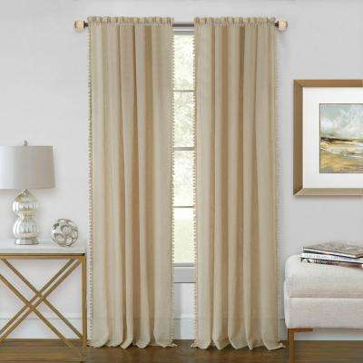 Wallace 52 in. W x 63 in. L Polyester Rod Pocket Curtain Panel in Linen