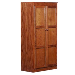 Wood Storage Cabinet, 60 in. with 4 Shelves, Oak Finish