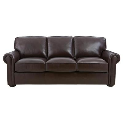 Alwin 86 in. Chocolate Leather 3-Seater Sofa with Round Arms