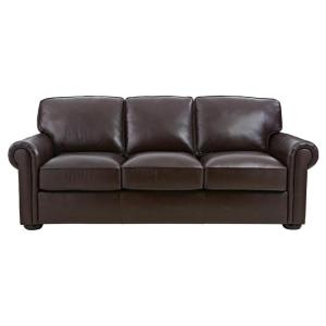 Home Decorators Collection Alwin Chocolate Italian Leather Sofa by Home Decorators Collection