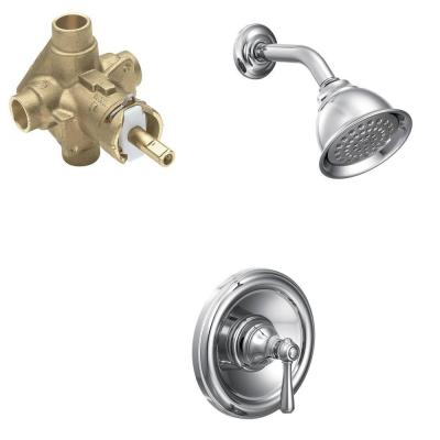 Kingsley Single-Handle 1-Spray Posi-Temp Shower Faucet Trim Kit with Valve in Chrome (Valve Included)