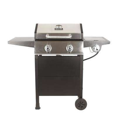 2-Burner Open Cart Propane Gas Grill in Stainless Steel and Black with Side Burner