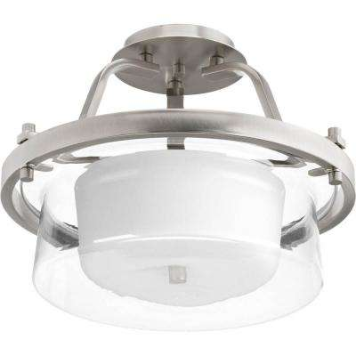 Indulge 2-light Brushed Nickel Semi-Flushmount