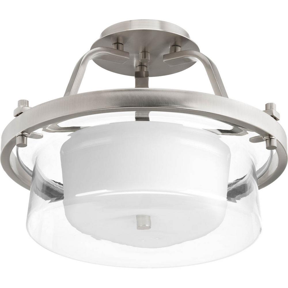 Indulge 2-light Brushed Nickel Semi-Flush Mount