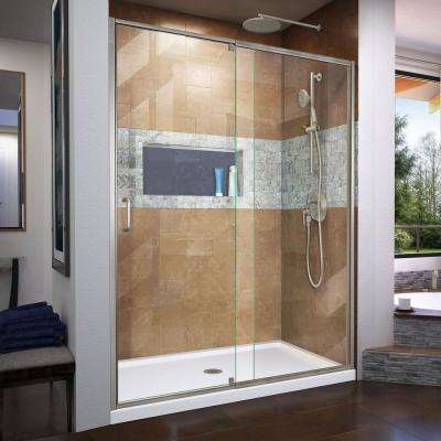 Flex 60 in. x 72 in. Semi-Frameless Pivot Shower Door in Brushed Nickel Finish with 60 in. x 30 in. Base in White