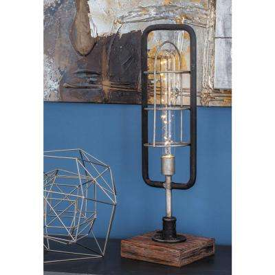 18 in. Black and Silver Wood LED Light Lantern