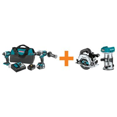 18V LXT Brushless 2-Piece Combo Kit with Bonus 18V LXT Brushless 6-1/2 in. Circ Saw and 18V LXT Brushless compact Router